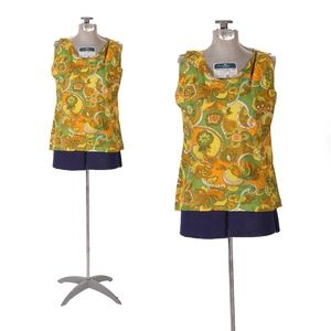 1960s Yellow Orange Green Paisley Flower Tank Top